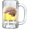 Glass mug containing beer and a brain floating in it.