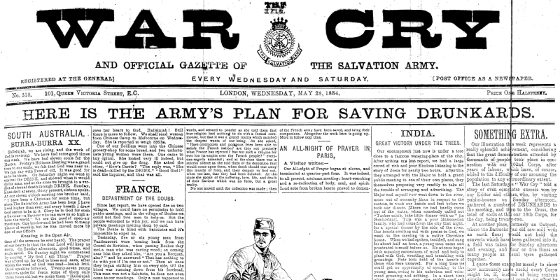 War Cry 28 May 1884. Here is the Army's Plan for Saving Drunkards.